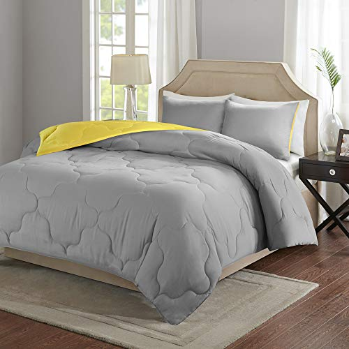 "Comfort Spaces Vixie Reversible Comforter Set-Modern Geometric Quaterfoil Cloud Quilted Design All Season Down Alternative Bedding, Matching Shams, Twin/Twin XL(66""x90""), Grey/Yellow"