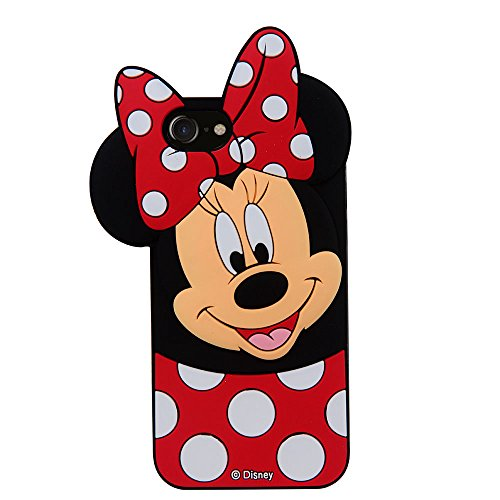 CHOCOCASE 3D Cartoon Silicone Case for Apple iPhone 7 Regular Red Polka Dot Bowknot Ultra Thick Drop Resistant Cute and Protective Design Gift for Kids Teens Girls Women