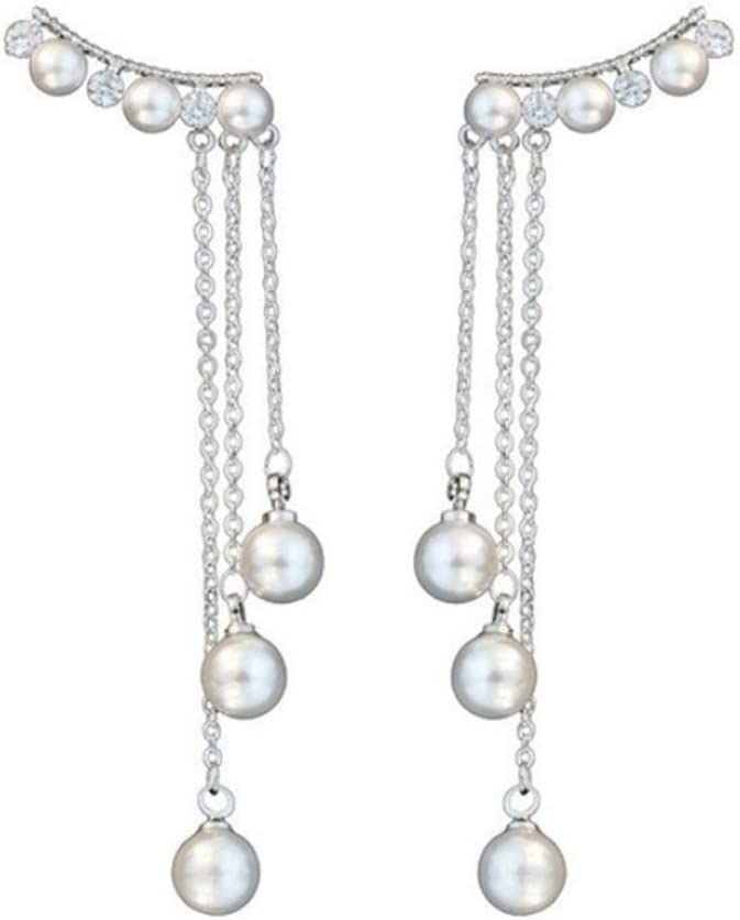 zhenleisier Women Faux Pearls Inlaid Chain Dangle Hook Ear Stud Cuff Earrings Daily Office Party Dating Masquerade Jewelry Accessory
