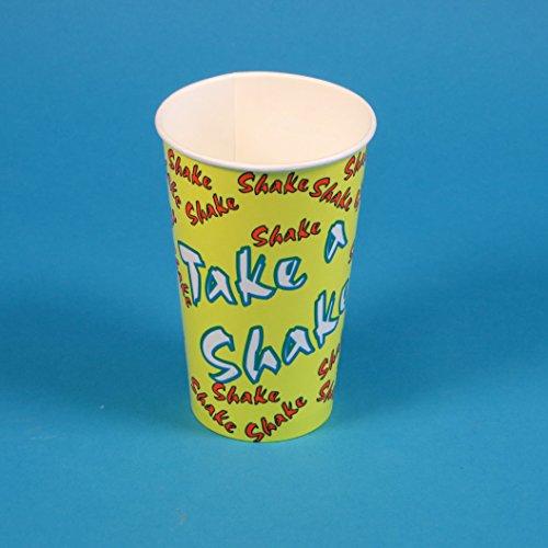 1000 Shakebecher Pappbecher Papptrinkbecher Trinkbecher Kaltgetränkebecher für Milchshakes usw. 0,5l 500ml, Neutraldesign