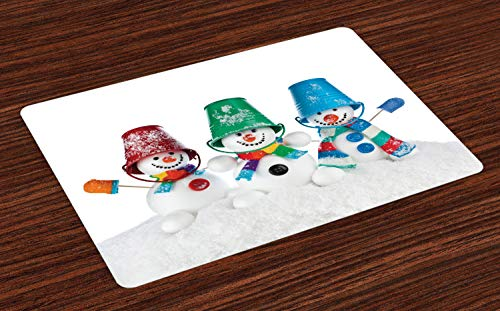 ABAKUHAUS Sneeuwman Placemat Set van 4, Sjaals Mittens en emmers, Wasbare Stoffen Placemat voor Eettafel, Veelkleurig