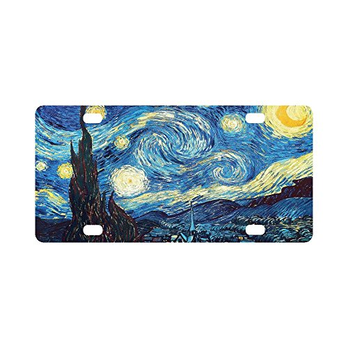 12 X 6 inches Durable License Plate Frame Metal Personalized Car Tag, The Starry Night by Vincent Van Gogh, Landscape Painting (4 Holes)