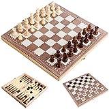 Roeam Ajedrez Madera, 3 EN 1 Ajedrez y Damas Backgammon,30CMx30CM Tablero de ajedrez Plegable,Juego de ajedrez de Madera para niños y Adultos