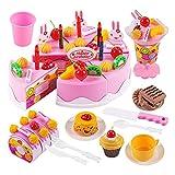 WFZ17 Juego de 75 piezas de juguete para hacer simulaciones de papel, para tartas, postres y helados, color rosa