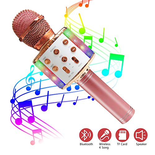 ZMLM Wireless Bluetooth Karaoke Microphone with LED Light - 5 in 1 Portable Handheld Karaoke Speaker Microphone Machine Home KTV Player Music Recorder for Smartphone Birthday Home Party (Rose Gold)
