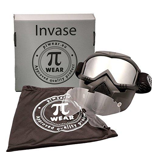 PiWear Motorradbrille Invase mit abnehmbarer Maske Kit, schwarz mit klarem und verspiegeltem Glas