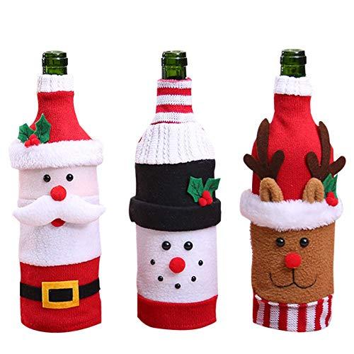 THMY Bolsas para Botellas de Vino, 3 Piezas de Punto, Navidad, Papá Noel, Vacaciones, Bolsas para Botellas de Vino, Funda Decoraciones navideñas, suéter, Decoraciones para Fiestas, Regalos