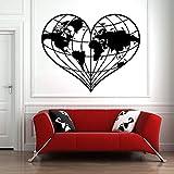 XCSJX Grandes Pegatinas de Pared Mundo Set Tierra Amor geografía Paz romántico romanticismo Vinilo Tatuajes de Pared Accesorios de decoración de Dormitorio 73x57cm