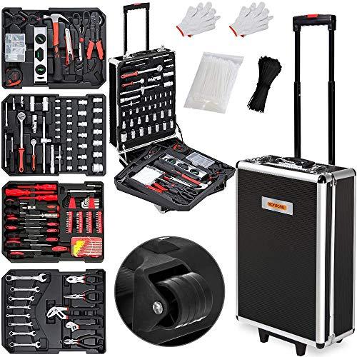 Monzana Werkzeugkoffer XXL gefüllt Set 899tlg Heimwerker Werkzeugkasten Werkzeugkiste Werkzeugtrolley anthrazit