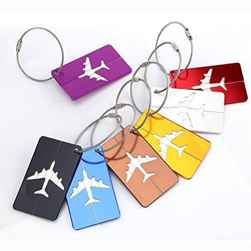 Keenso Juego de 7 etiquetas para maleta, de aleación de aluminio, etiquetas de identificador, etiquetas de viaje, accesorios