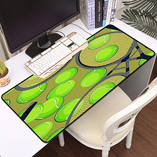 Luoquan Alfombrilla Raton Grande Gaming Mouse Pad,Patrón de Fondo con Pelotas de Tenis y Raqueta,Impermeable Alfombrilla Gruesa de Goma Antideslizante para ratón