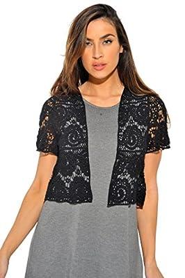 401148-Blk-L Just Love Bolero Shrug / Women Cardigan,Black Paisley Crochet,Large,Black Paisley Crochet,Large from