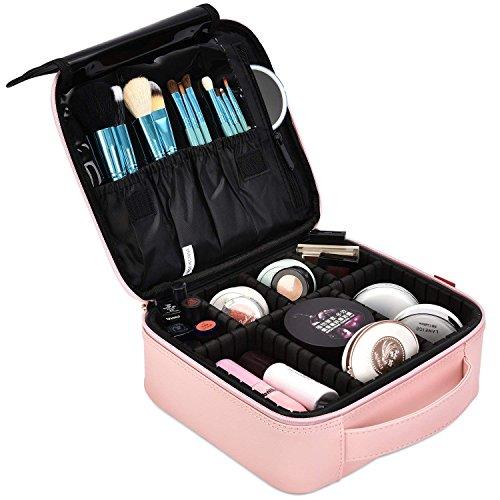 NiceEbag Kosmetikkoffer Makeup Organizer abnehmbar Zug Kasten mit mehrere Make up Fächer tragbare Kosmetik Etui Reise Professionelle Bürste BOX für Damen,Neu Rosa