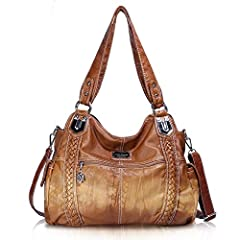 Quality Material:High Quality Anti-Scratch PU Leather Hobo Tote Womens Purse Handbag.soft hand feel and durable,Front U-shaped sewing design, reinforced bottom with special hook decoration, two Side pockets make the hobo bag more unique for women dai...