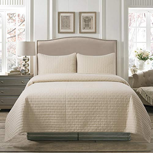 Soul & Lane Pure Bliss 100% Cotton Beige 3-Piece Quilt Set - King with 2 Shams | Modern Quilted Bedspread