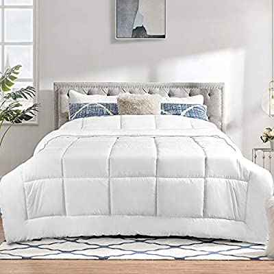 TECHTIC Duvet Insert King Size, Plush White Duvet Down Alternative Quilted Stand Alone Bedding Duvet for All Season, Box Stitched, Machine Washable
