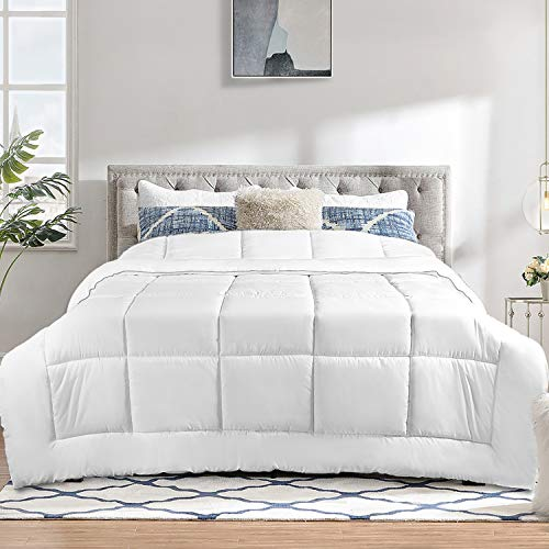 TECHTIC Duvet Insert King Size 7.5Tog, Plush White Duvet Down Alternative Quilted Stand Alone Bedding Duvet for All Season, Box Stitched, Machine Washable