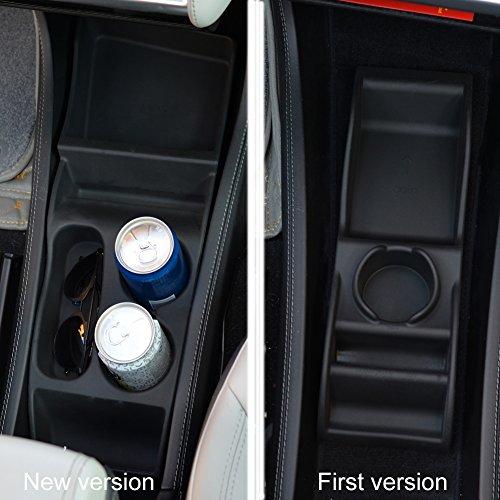 Topfit Model S Center Console Organizer Compatible Tesla Model S Silicone Center Container Cup Holder Storage Box(Black New Version)