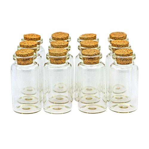 Ruby - 25 Botellas de Deseo 30mm x 60mm, Mini Botellas de Cristal con Tapones de Corcho, Mensaje, Deseo de Fiesta de Bodas. (25 unids.)