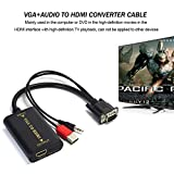 ACHICOO - Cable de vídeo portátil VGA a HDMI, Salida 1080P, HD, Audio AV, HDTV, para Ordenador, Adaptador de conversor VGA2HDMI
