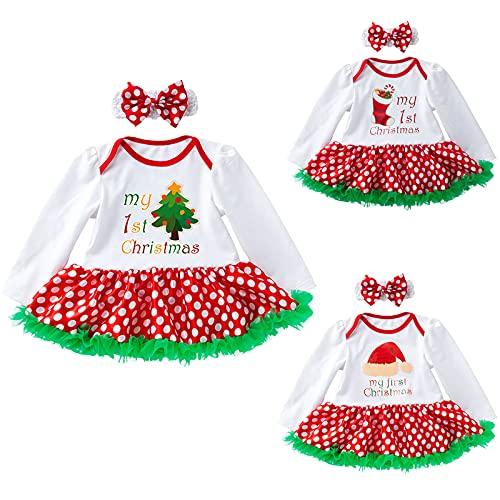 YQSR Vestido de Navidad para beb y nia, diseo de Pap Noel, de manga larga, con estampado de princesa