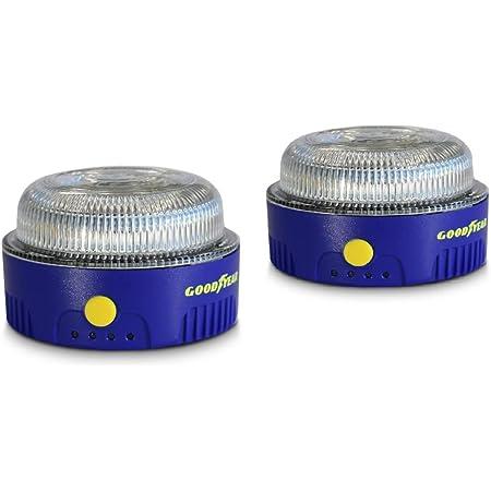 Goodyear Luz de Emergencia Coche y Linterna. Safety Light v16. LED, homologada por la DGT. Base imantada. Diseñado en España. Baliza Luminosa(2 Unidades)