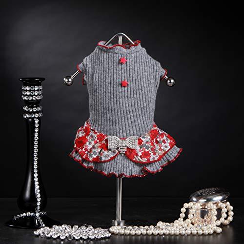 Trilly Tutti Brilli Mary wollen jurk met Balza fantasiebloemen en broche strass en stella knoppen, grijs, L - 1 product