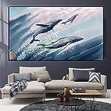 SADHAF Moderno abstracto nórdico acuarela imprimir colorido pescado pintura al óleo imagen de la pared decoración del hogar A6 70X100cm