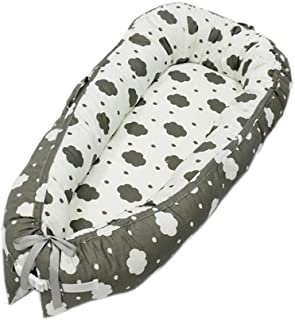 Newborn Lounger, KOBWA Portable Soft Breathable Baby Bed, Removable Cover Baby Bionic Bed for Infants Toddlers - 100% Cotton Crib Mattress for Bedroom Travel