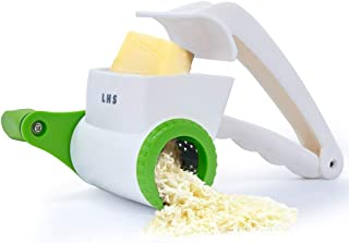LHS Rotary Cheese Graters for Kitchen, Manual Hand Crank Handheld Cheese Cutter with Stainless Steel Drum for Grating Hard...