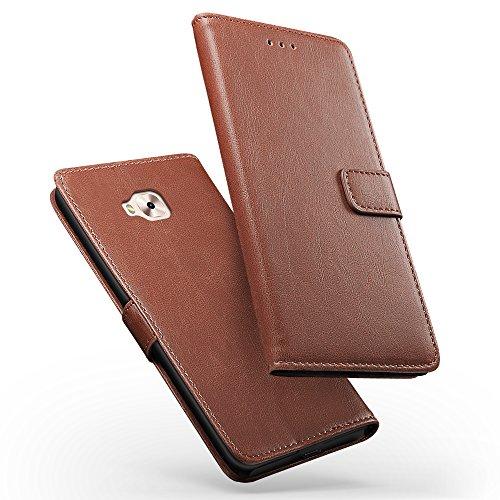 SLEO Hülle für Asus ZenFone 4 Selfie Pro ZD552KL Hülle Lederhülle Wallet Deckel Retro mit Kartensteckplätze Bookstyle für Hülle für Asus ZenFone 4 Selfie Pro ZD552KL - Kaffee
