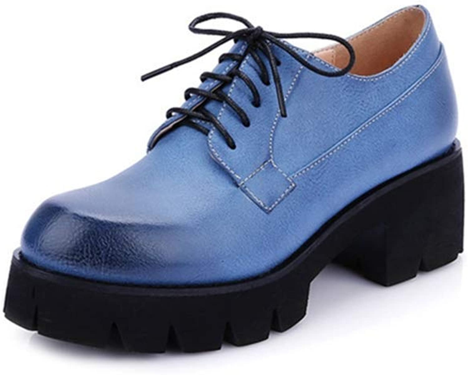 BMTH Women's Classic Platform Oxford shoes Pumps Lace-up Round Toe Mid-Heel Comfort Dress Loafer shoes