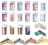 22 Cajitas Nail Foil Transfer Stickers Pegatinas de Transferencia de Papel de Uñas Efecto Cielo Estrella y Mármol Pegatinas Uñas para Mujeres Chicas Nail Art Accesorios Transferencias