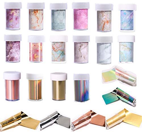 22 Nail Foil Transfer Sticker Adesivi per Unghie Stickers Nail Art Adesivo Trasferimento Decalcomanie Nail Foil Transfer in Marmo Cielo Stellato Unghie Adesivi Olografiche Trasferimento Decorazioni