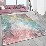 Alfombra De Salón Pelo Corto Colorida Moderna Diseño Galaxia Colores Pastel Multicolor, tamaño:160x230 cm
