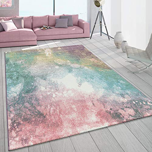 Paco Home Teppich Wohnzimmer Bunt Rosa Grün Türkis Pastell Farbverlauf Robust Kurzflor, Grösse:240x340 cm