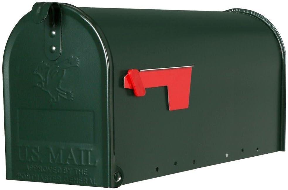 Elite Medium Green Galvanized Steel Post-Mount Mailbox - Green M