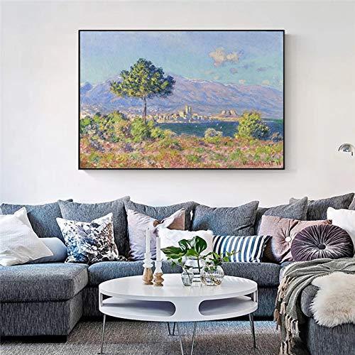 YCCYI Claude Monet Antibes Vue Du Plateau Notre-Dame Famosos Cuadros de Arte en Lienzo Paisaje impresionista Arte de la Pared Impresiones Decoración 60x100cm (24x39in) Marco Interior