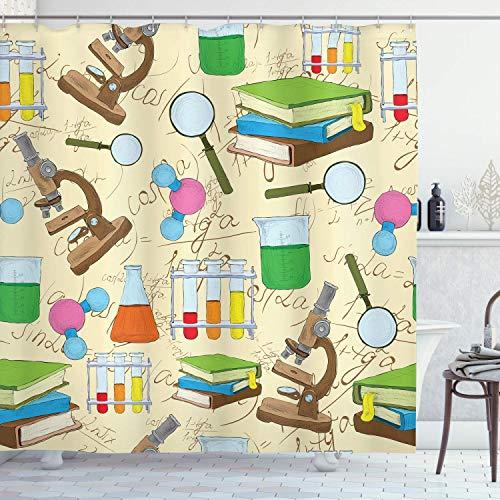 CAIQ Schooldouchegordijn, 48 x 72 inch (48 x 72 inch), schets, boeken, vergelijking, vergrootglas, microscoop, moleculfles, drukstof, stof, stof, badkamerdecoratie, set met haken