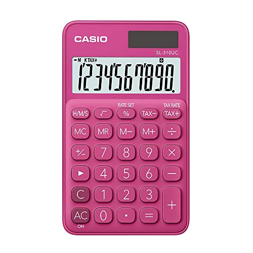 Calculadora Portátil Casio c/ visor amplo 10 dígitos e alimentação Dupla Casio, Rosa