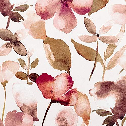 McAlister Textiles Tessuto al Metro Tappezzeria e Cucito Velluto Floreale Blush | Stoffa Metraggio Fiori Impressionista | Divani Tende Sedie | Rosa | Al Mezzo Metro 50x140cm