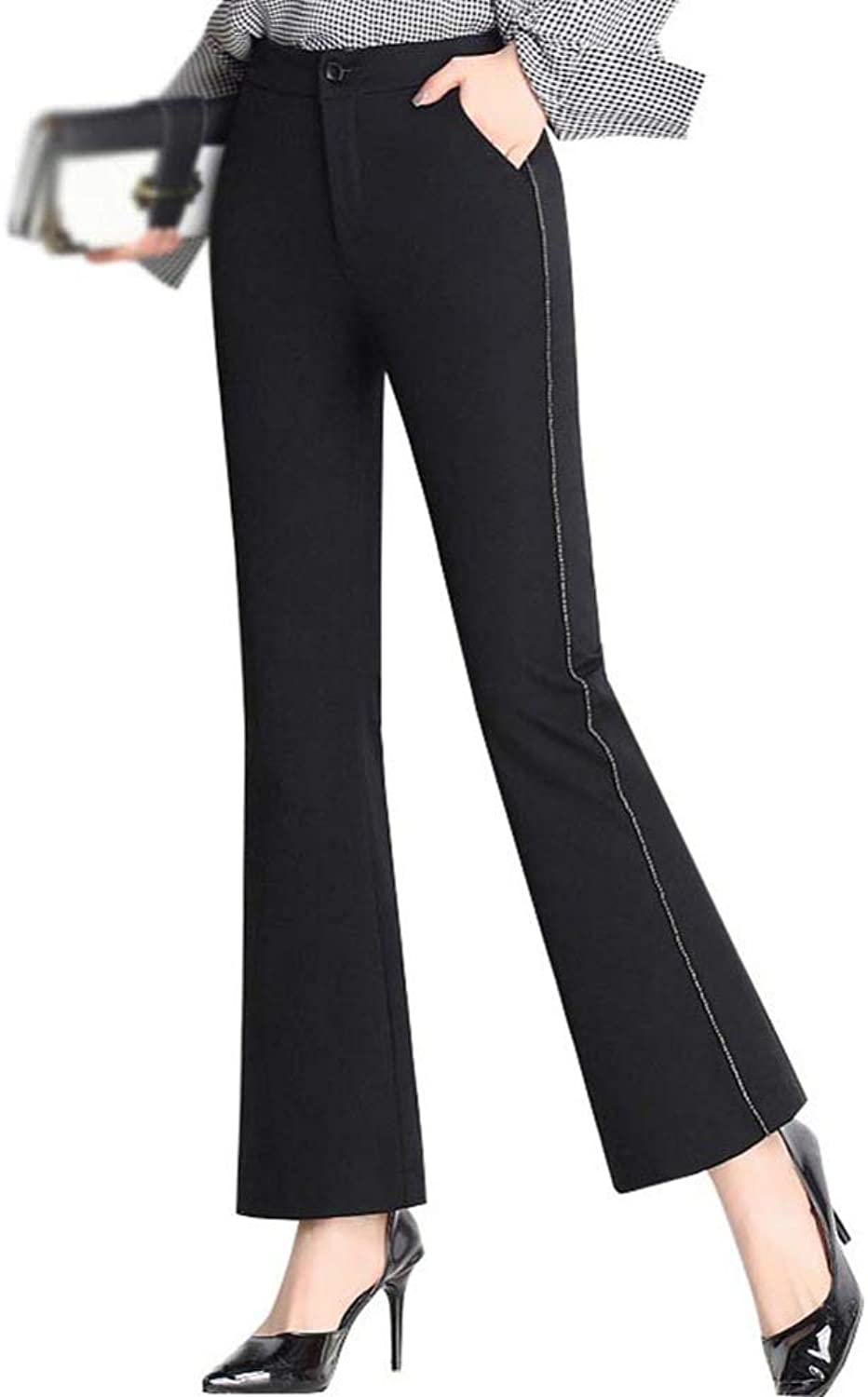 HOQTUM Wide Leg Pants Women's Cropped Trousers Spring and Summer high Waist Stretch Slim Thin Flared Pants Women's Casual Pants Black