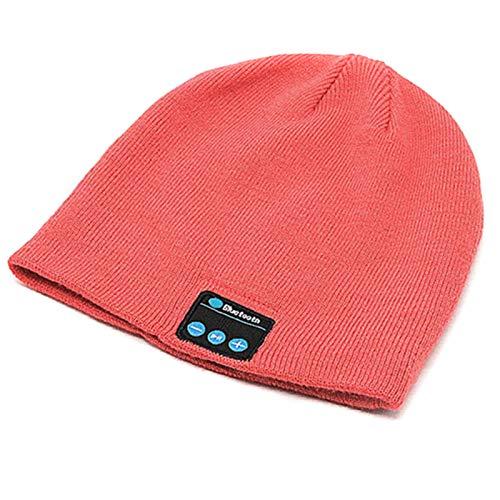 Bluetooth-Mütze, Unisex, kabellos, V5.0, Strickmütze, Kopfhörer mit Mikrofon und integrierten Stereo-Lautsprechern, Geschenk für Männer und Frauen, Pink