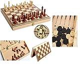 Juego de ajedrez portátil 3 en 1, Juego de ajedrez de Madera Plegable, Juego de...