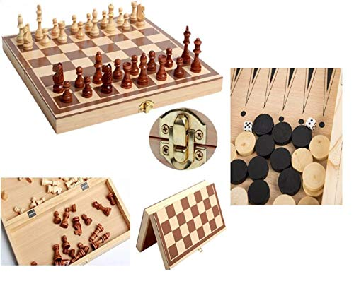Juego de ajedrez portátil 3 en 1, Juego de ajedrez de Madera Plegable, Juego de Chess Checkers y bockgammom, Juegos de ajedrez de Viaje, Juegos Tradicionales para niños