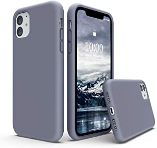 SURPHY Silicone Case Compatible with iPhone 11 Case 6.1 inch, Liquid Silicone Full Body Thickening Design Phone Case (with Microfiber Lining) for iPhone 11 6.1 2019, Lavender Gray