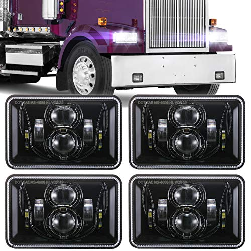 (4 PCS) DOT Approved 60W 4x6 Inch LED Headlights Rectangular Replacement H4651 H4652 H4656 H4666 H6545 Compatible with Peterbilt Kenworth Freightinger Ford Probe Oldsmobile Cutlass -Black