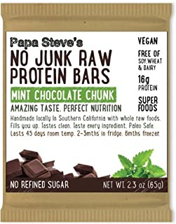 Papa Steve's No Junk Raw Vegan Protein Bars: Non GMO, Gluten Free, 100% Natural, Hand-Made Weekly - Mint Chocolate Chunk (...