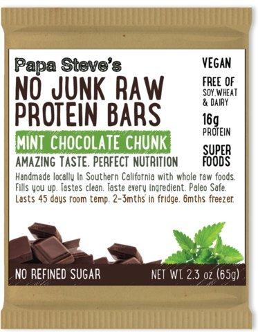Papa Steve#039s No Junk Raw Vegan Protein Bars: Non GMO Gluten Free 100% Natural HandMade Weekly  Mint Chocolate Chunk Pack of 10