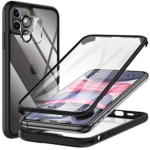 KKM Kompatibel mit iPhone 11 Hülle Eingebaute Displayschutzfolie, [Militärqualität] 360 Grad Anti Drop Stoßfeste Telefonhülle, [Glasscheibe] Voller Schutz Schutzhülle, Schwarz 6,1 Zoll